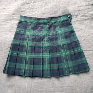 American Apparel Green Plaid Pleated Skirt Small
